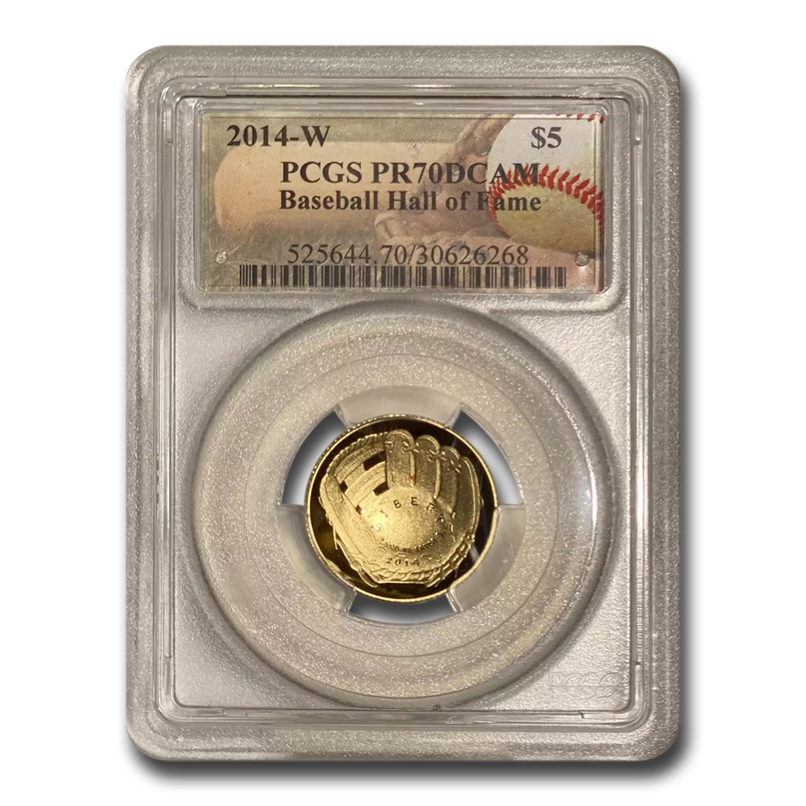 2014-W Gold $5 Commem Baseball HOF PR-70 PCGS